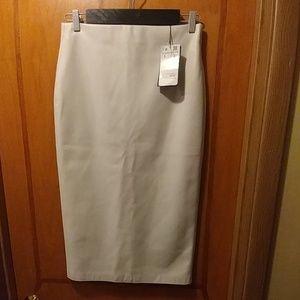 Zara winter white faux leather skirt